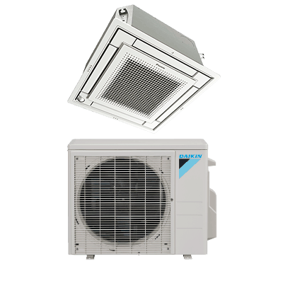 Daikin VISTA™ Ceiling Cassette single-zone heat pump.